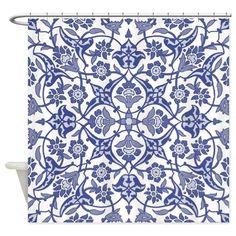 Indigo Blue Vintage flora design Shower Curtain on CafePress.com