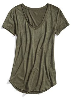 Stitch Fix Winter Essentials: An olive colored tee is just as versatile as a white T-shirt. Wear it with boyfriend jeans and a moto jacket for an effortless, city-girl vibe.