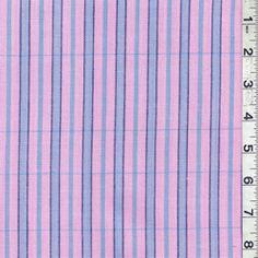 Pink/Blue Stripe Oxford Shirting - Discount Fabrics