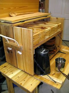 Camping. Cedar Kitchen Box - storage for dishes, coffee pot, utensils, candles, etc.