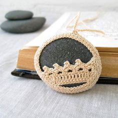 Crochet Stone Necklace Crochet Jewelry Lace by MariaKonstantin