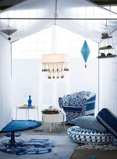 True blue collection by Ikea. Limited edition Indian-inspired indigo colored pieces.