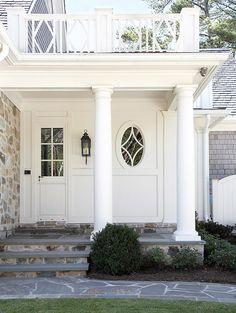 Stone sidewalk and porch