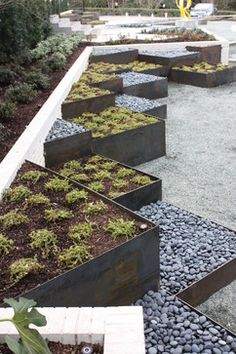 Contemporary Landscape in Texas by Marlin Landscape Systems. interesting metal planter design. triangles