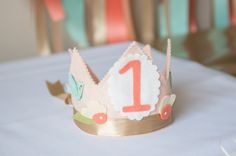 Felt First Birthday Crown - #firstbirthday