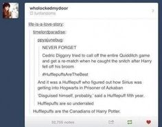 Hufflepuffs are the Canadians of Harry Potter