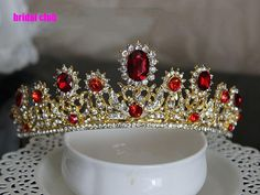 2015 Ruby Red Rhinestones Gold Plated Tiaras&Crowns Girls Quinceanera Bride Wedding Hair Accessory Para Cabelo