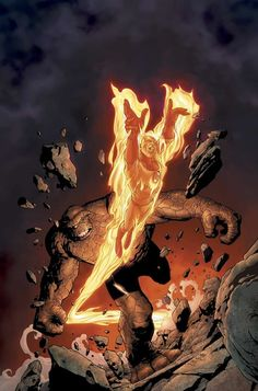 The Thing (Ben Grimm) & The Human Torch (Johnny Storm) - The Fantastic Four - Marvel Comic Book Characters, Marvel Characters, Comic Character, Comic Books Art, Book Art, Fantastic Four 4, Mister Fantastic, Marvel Comics Art, Marvel Heroes