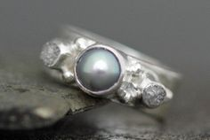 Rough Diamond and Pearl Engagement Band Custom Made by Specimental