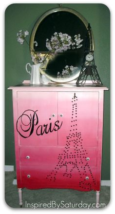 Painted pink Ombre, stencils (text) and used nailheads for the Eiffel Tower