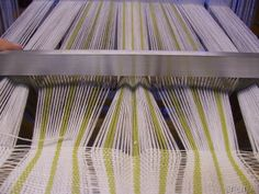 """3 of 3: One of a few pics I'm posting from the blog of """"Birgitta,"""" wherein she posts work-in-progress pictures of an undulating warp design, accomplished with a """"fan reed,"""" or, """"ondule reed.""""  Her blog (in Danish) is here: http://birgittavavare.blogspot.dk/ __ pic is from entry of 25:e januari 2010"""