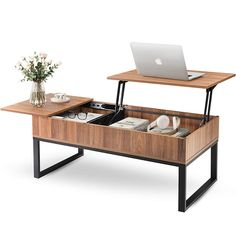 Here's How to Nail the Japandi Interior Design Style Using Amazon Finds | Sleek and convenient, this coffee table provides hidden storage space and transforms into a small desk. It will make working on the couch so much more comfortable. #decorideas #homedecor #decorinspiration #realsimple #smallspaceideas #apartmentideas Coffee Table With Hidden Storage, Lift Top Coffee Table, Cool Coffee Tables, Built In Storage, Extra Storage, Small Coffee Table, Coffee Table In Bedroom, Storage Mirror, Living Room Decor Items