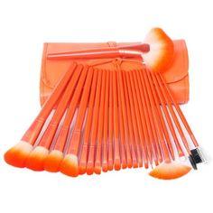 KingMas 24 Pcs Pro Makeup Brushes Cosmetic Make Up Brush Set with bag  Orange -- Click on the image for additional details.
