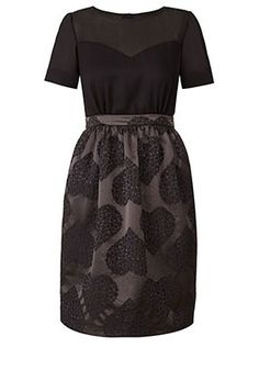 Garden of Hearts Jacquard Tulip Skirt Dress Onyx