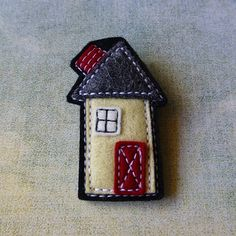 Wool Felt Brooch no.29 in the House series, Handmade by Gillian Hamilton eclecticmoi on etsy