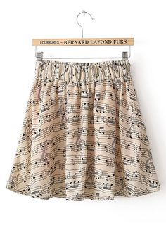 Multicolor Musical Note Print Synthetic Fiber Skirt I NEED THIS.