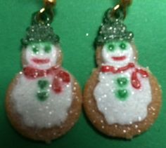 Sugar Cookie Snowman Earrings Christmas by TheIDconnection on Etsy, $5.00