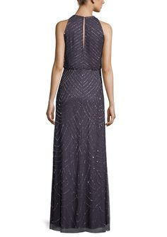 Ombre Printed Chiffon Gown W Belt | Halston Heritage ...