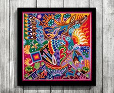 Traditional huichol art you can download and print yourself. A quick and affordable way to add beautiful new artworks to your walls. This is a picture of an actual yarn painting made by an artist of the huichol tribe from Mexico. •• This is an INSTANT DOWNLOAD DIGITAL PRINT only. No