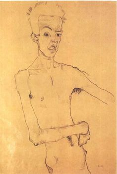 Intercepted by Gravitation | dappledwithshadow:   Egon Schiele Self-Portrait...