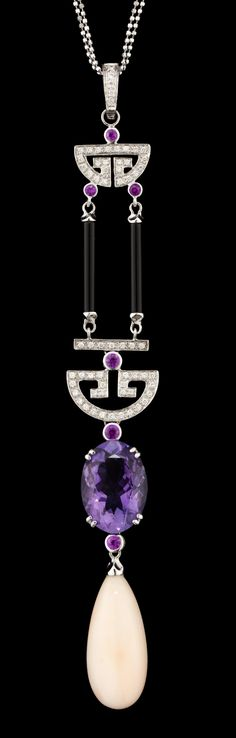 Art Decó diamond, ruby, onyx, amethyst, coral, and gold pendant.