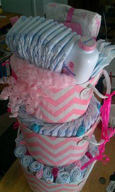 Diaper cake for girls baby shower