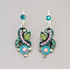 Colorful evening earrings  Alpaca based colorful by NoyJewelry, $60.00