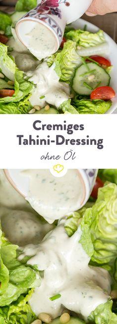 Schmeckt zu Kichererbsen, hellem Fleisch, Couscous oder knackigem Römersalat – das nussige Tahini-Dressing ist auch ohne Öl herrlich cremig und lässt sich prima im Kühlschrank aufbewahren.