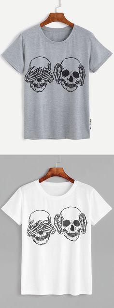 Skull Print Short Sleeve T-shirt