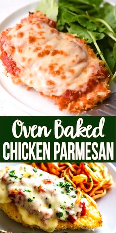 This delicious Oven Baked Chicken Parmesan recipe is easy and doesn't require any frying. Because this chicken Parmesan is baked, it is healthy, quick and easy! Make this crispy baked Parmesan crusted chicken for dinner tonight in about thirty minutes! Oven Baked Chicken Parmesan, Baked Chicken Recipes, Keto Chicken, Simple Chicken Parmesan Recipe, Rotisserie Chicken, Mexican Recipes With Chicken, Low Carb Meals Chicken, Chicken Parmesian, Easy Healthy Chicken Recipes