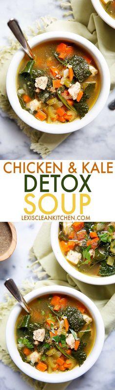 Chicken Kale Detox Soup | Lexi's Clean Kitchen #soup #detox #healthy #kale #chicken #whole30