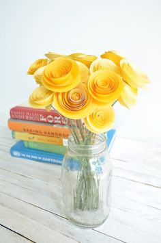 24 Yellow Paper Flowers on Stems Bouquet of Paper by lillesyster, $36.00