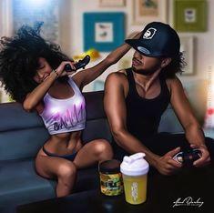 Sexy Black Art, Black Love Art, Black Girl Art, Black Is Beautiful, Black Girl Magic, Max Black, Black Couple Art, Art Couple, Black Love Couples