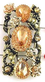 *Cast in antique brass metal in a beautiful floral motif, with beautiful cz stones in topaz and large lucite stones. Each bead has beautiful enamel detailing. Measurements for the Castings: No. of hol