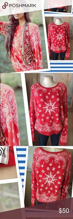 Wildfox Bandana compass Gypsy Ted sweatshirt L So comfy ! Worn2 times . Rare red color ! Price firm no trades Wildfox Tops Sweatshirts & Hoodies