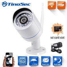 TinoSec 720P Home Security Wireless Metal IP Camera Wifi Outdoor Bullet IR P2P With IR-Cut Filter 1.0MP Camera with TF Card Slot #women, #men, #hats, #watches, #belts