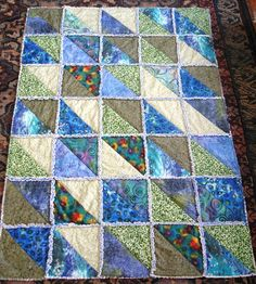 rag quilts with triangles | switched to 12-1/2″ half-square-triangle blocks. This made the quilt ...