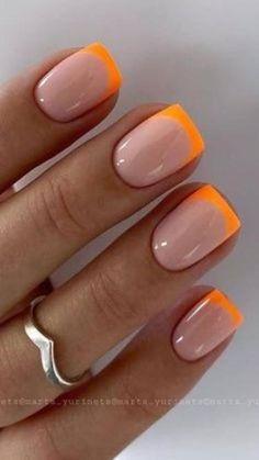Orange Acrylic Nails, French Tip Acrylic Nails, French Tip Nail Designs, French Manicure Nails, Square Acrylic Nails, Orange Nails, Blue Nails, Colored Nail Tips French, Gel Nail Polish Designs