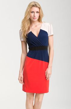 Donna Morgan: http://shop.nordstrom.com/s/donna-morgan-colorblock-jersey-sheath-dress/3277960?origin=category&resultback=4663