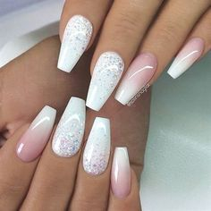 REPOST - - - - White with Glitter Ombre and French Fade on Sa .- REPOST – – – – White with glitter ombre and French fade on coffin nails – – – – … - Prom Nails, My Nails, Wedding Nails, Faded Nails, Matte Nails, Polish Nails, Oval Nails, Gradient Nails, Nice Nails