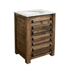 Reclaimed Pine Single Bath Vanity Wax Finish White Marble Top (hues of grey throughout) Under-Mounted Porcelain Sink Single Pre-Drilled Faucet Hole 26.5W x 21D x 36H