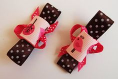 BIRDS on a TREE brown pink fuchsia  dots 2 hair by Bubblebuzz, $5.90