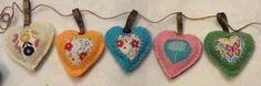 Handmade fabric heart garland by ThePricklyPincushion on Etsy