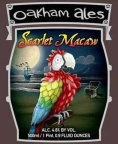"OAKHAM ALES SCARLET MACAW ALE - brewed in Peterborough, Cambridgeshire. the brewery description ""Tart gooseberry and soft peach on the nose. Gooseberries and fruit to taste, before an intense bitterness that's as sharp as a macaw's screech! ""."