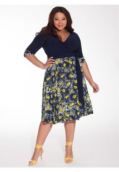 Bellissima Dress in Navy/Daffodil | Plus Size Work Dresses |