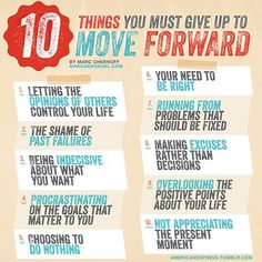Ingographic 10 things you must give up to move forward and accomplish your dreams.