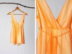 vintage 60's baby doll dreamsicle orange lingerie by foxandfawns, $16.00