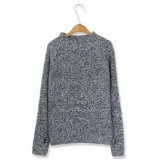 Gray pullovers Solid regular sleeve long sleeve o-neck fashion regular Vintage Sweaters