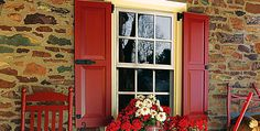 Timberlane Exterior Shutters :: Farm and Stone Houses Exterior Colors, Exterior Paint, Exterior Design, Exterior Shutters, Exterior Homes, Red Shutters, Window Shutters, Farmhouse Shutters, Rustic Farmhouse