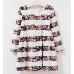 Wholesale Cute Long Sleeve Floral Print Lace Mini Dress For Girl Only $7.02 Drop Shipping | TrendsGal.com